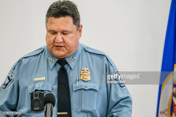 Minneapolis Police Department Assistant Chief Henry Halvorson speaks at a media briefing on April 5, 2021 in Minneapolis, Minnesota. Local, state and...