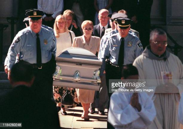 Minneapolis police officers carried Deputy Chief Leonard Bruccinni's casket from the Church of St Helena's in South Minneapolis Bruccinni was on the...