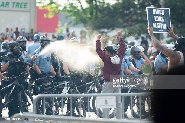 Minneapolis police pepper spray a protestor on Wednesday May 27 during the second day of protests over the death of George Floyd in Minneapolis Floyd...