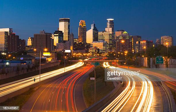 Minneapolis skyline and highway at dusk