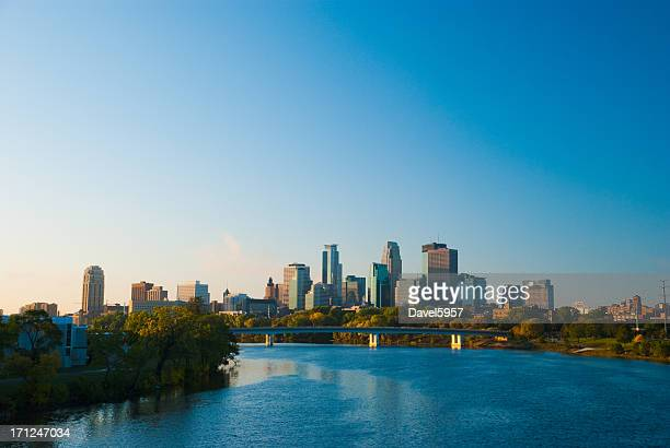 minneapolis skyline and river in the morning - minneapolis stock photos and pictures