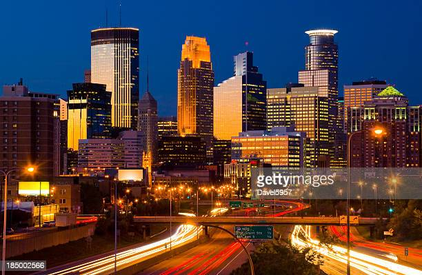 Minneapolis skyline at dusk