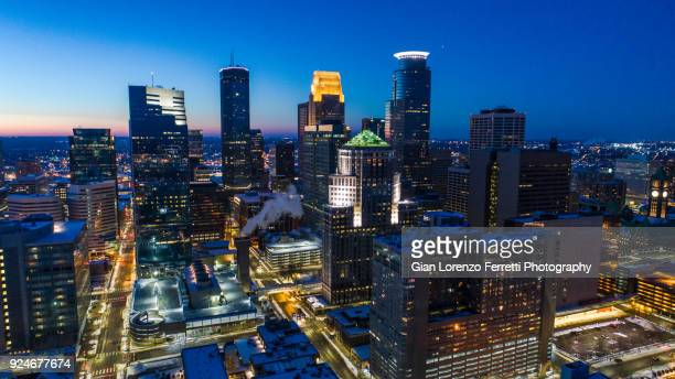 minneapolis skyline at night - cityscape - minneapolis stock photos and pictures