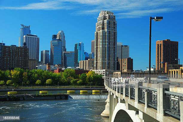 minneapolis skyline, bridge, and mississippi river - minneapolis stock photos and pictures