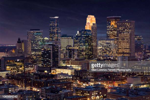 minneapolis skyline by night - cityscape stock pictures, royalty-free photos & images