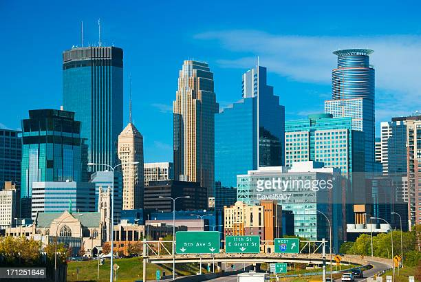 minneapolis skyscrapers and skyline - minneapolis stock photos and pictures