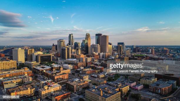 minneapolis - sunset cityscape during summer - minneapolis stock photos and pictures