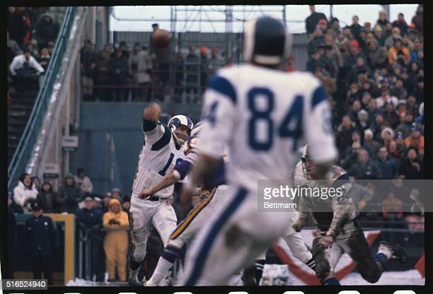 The following action in the third quarter of the NFL playoff here between the Minnesota Vikings and the Los Angeles Rams Roman Gabriel of the Rams is...