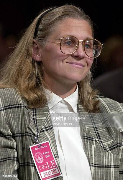 Minneapolisbased FBI Agent Colleen Rowley listens to questions in the Senate Judiciary Committee room 06 June 2002 on Capitol Hill in Washington DC...