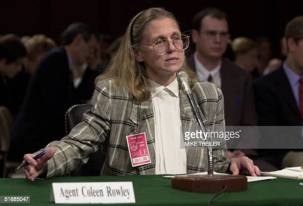 Minneapolisbased FBI Agent Colleen Rowley testifies in the Senate Judiciary Committee room 6 June 2002 on Capitol Hill in Washington DC during a...