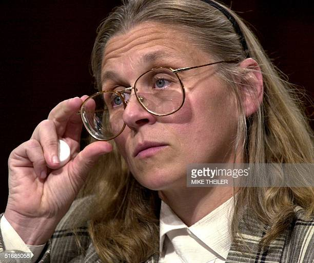 Minneapolisbased FBI agent Colleen Rowley testifies in the US Senate Judiciary Committee room 06 June 2002 on Capitol Hill in Washington DC during a...