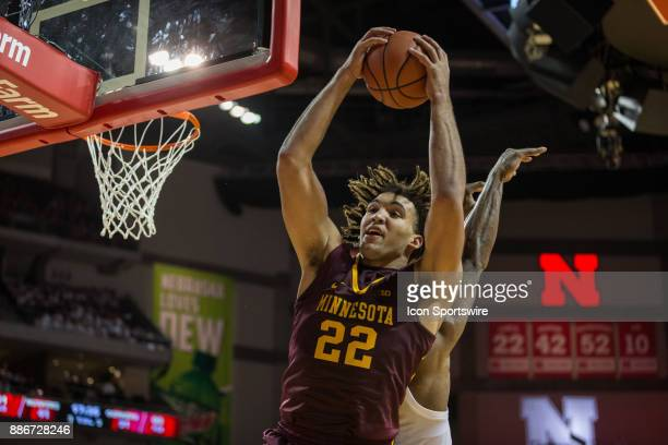 Minnesota center Reggie Lynch grabs a rebound against Nebraska during the second half Tuesday December 5th at Pinnacle Bank Arena in Lincoln Nebraska...