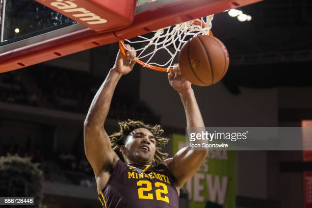 Minnesota center Reggie Lynch makes a dunk against Nebraska during the second half Tuesday December 5th at Pinnacle Bank Arena in Lincoln Nebraska...