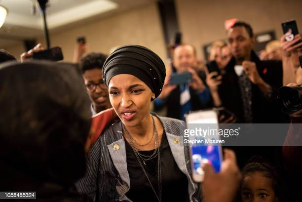 Minnesota Democratic Congressional Candidate Ilhan Omar arrives at an election night results party on November 6 2018 in Minneapolis Minnesota Omar...