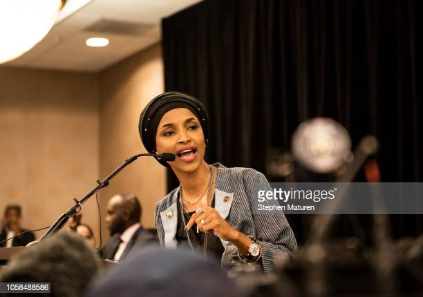Minnesota Democratic Congressional Candidate Ilhan Omar speaks at an election night results party on November 6 2018 in Minneapolis Minnesota Omar...