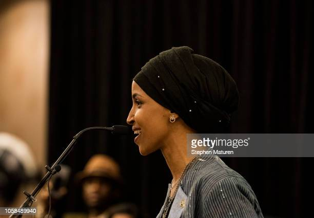 Minnesota Democratic Congressionalelect Ilhan Omar speaks at an election night results party on November 6 2018 in Minneapolis Minnesota Omar won the...