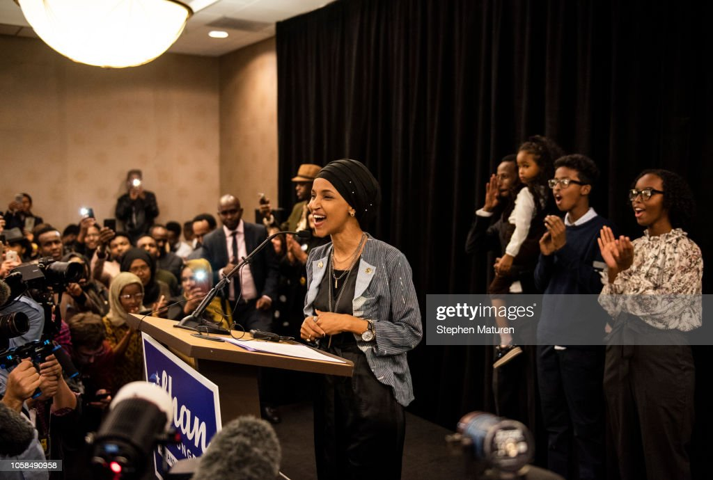 Minnesota Congressional Candidate Ilhan Omar Attends Election Night Event In Minneapolis : News Photo
