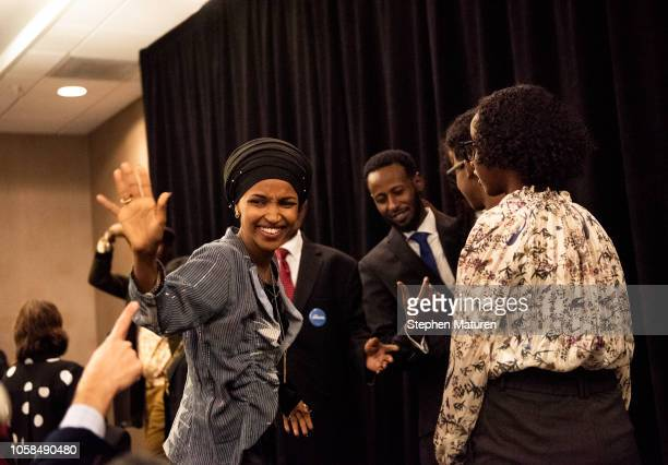 Minnesota Democratic Congressionalelect Ilhan Omar waves to supporters at an election night results party on November 6 2018 in Minneapolis Minnesota...