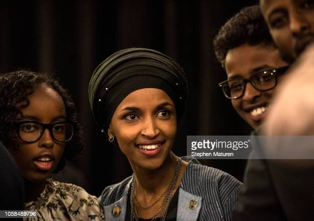 Minnesota Democratic Congressionalelect Ilhan Omar with her family at an election night results party on November 6 2018 in Minneapolis Minnesota...