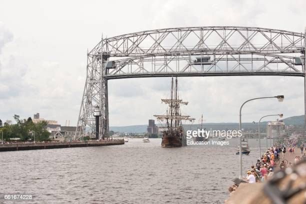 Minnesota Duluth Tall Ships Festival 2016 El Galion a Spanish Galleon Replica sailing under Engine power Ship Canal and Lift bridge