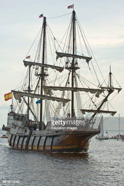 Minnesota Duluth Tall Ships Festival 2016 El Galion a Spanish Galleon Replica sailing under Engine power