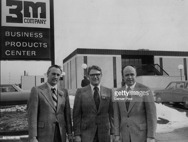 Minnesota Firm Opens New Denver Center Three executives of Minnesota Mining and Manufacturing Co known as the 3M Co stand in front of the firm's new...