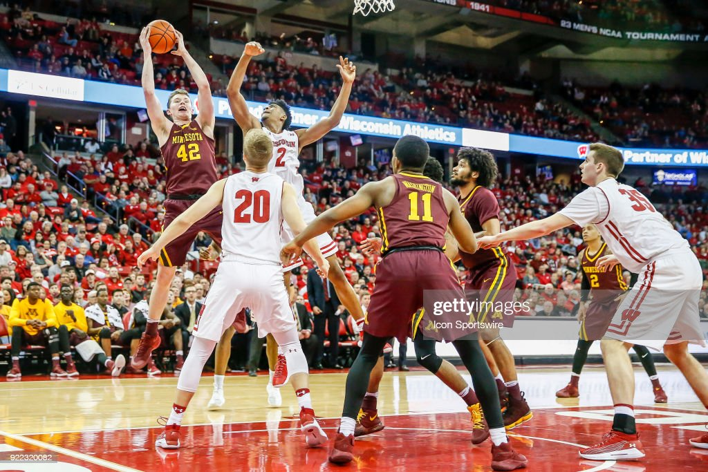 Minnesota forward Michael Hurt (42) comes away with a rebound during a college basketball game between the University of Wisconsin Badgers and the University of Minnesota Golden Gophers on February 19, 2018 at the Kohl Center in Madison, WI. Wisconsin defeated Minnesota by a score of 73 - 63.