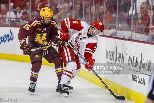 Minnesota forward Rem Pitlick gets his stick into the jersey of Wisconsin defenseman Tyler Inamoto during a college hockey match between the...