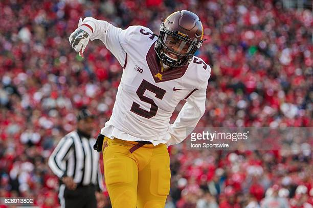 Minnesota Golden Gophers defensive back Jalen Myrick celebrates a stop durning an NCAA Football game between the 6th ranked Wisconsin Badgers and the...
