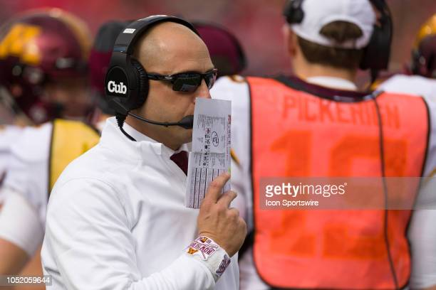 Minnesota Golden Gophers head coach P J Fleck covers his mouth in a game between the Ohio State Buckeyes and the Minnesota Golden Gophers on October...
