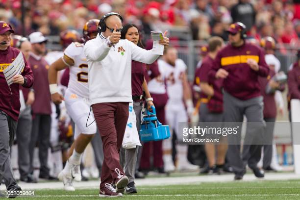 Minnesota Golden Gophers head coach P J Fleck gives two thumbs up after Ohio State takes a timeout in a game between the Ohio State Buckeyes and the...