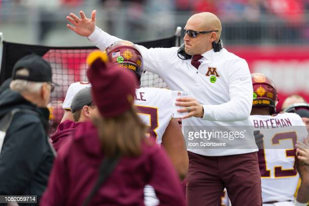 Minnesota Golden Gophers head coach P J Fleck reacts on the sidelines after a touchdown in a game between the Ohio State Buckeyes and the Minnesota...
