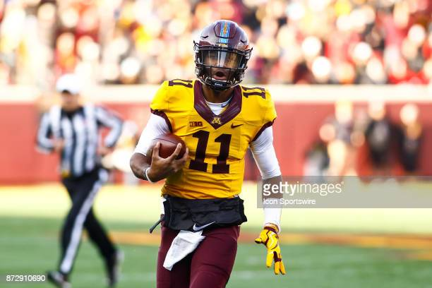 Minnesota Golden Gophers quarterback Demry Croft in action during the Big Ten Conference game between the Nebraska Cornhuskers and the Minnesota...