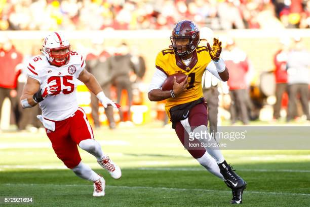 Minnesota Golden Gophers quarterback Demry Croft rushes in the 3rd quarter during the Big Ten Conference game between the Nebraska Cornhuskers and...
