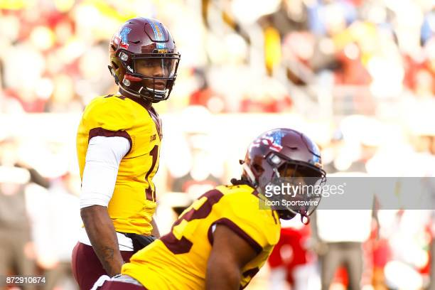 Minnesota Golden Gophers quarterback Demry Croft takes the play call before the snap during the Big Ten Conference game between the Nebraska...