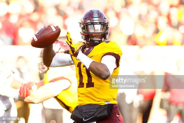 Minnesota Golden Gophers quarterback Demry Croft throws a pass in the 1st quarter during the Big Ten Conference game between the Nebraska Cornhuskers...