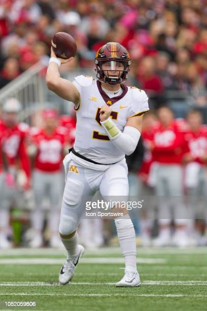 Minnesota Golden Gophers quarterback Zack Annexstad passes the ball in a game between the Ohio State Buckeyes and the Minnesota Golden Gophers on...