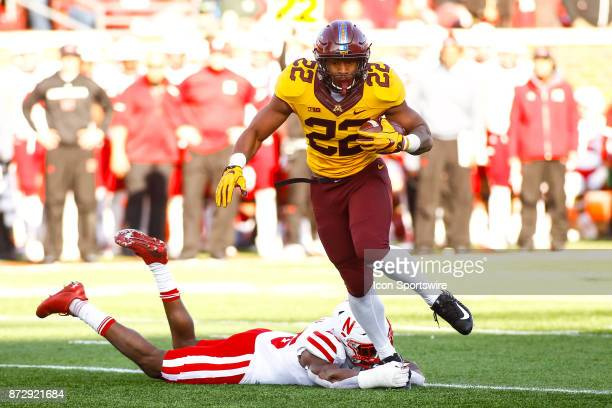 Minnesota Golden Gophers running back Kobe McCrary breaks a tackle in the 3rd quarter during the Big Ten Conference game between the Nebraska...