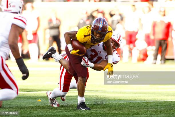 Minnesota Golden Gophers running back Rodney Smith is tackled in the 1st quarter during the Big Ten Conference game between the Nebraska Cornhuskers...