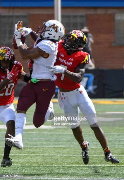 Minnesota Golden Gophers wide receiver Chris AutmanBell cannot control pass thrown to him in the second quarter against the defense of Maryland...