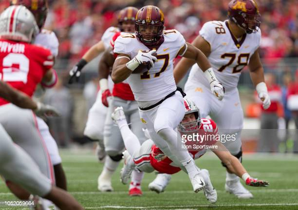 Minnesota Golden Gophers wide receiver Seth Green gains a few yards in a game between the Ohio State Buckeyes and the Minnesota Golden Gophers on...