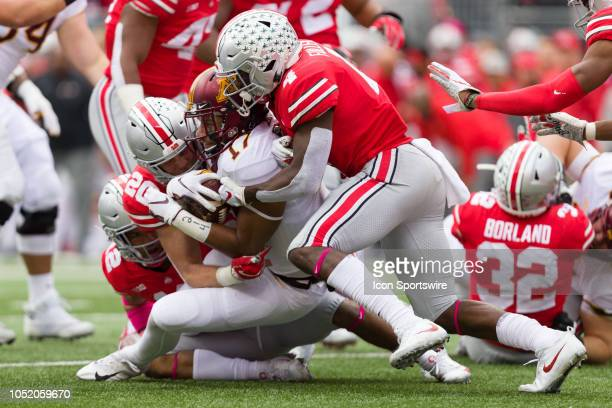 Minnesota Golden Gophers wide receiver Seth Green is tackled by Ohio State Buckeyes linebacker Pete Werner and Ohio State Buckeyes safety Jordan...