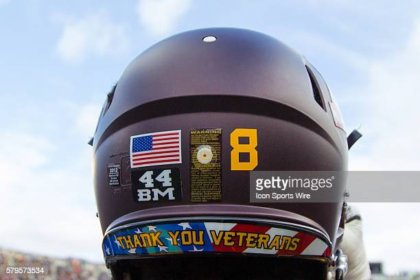 Minnesota Gophers defensive back Daletavious McGhee Thank You Veterans helmet on Military Appreciation Day in the second quarter against the Iowa...