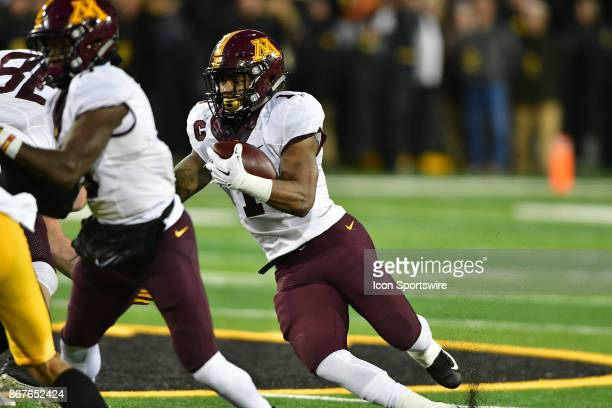 Minnesota Gophers tailback Rodney Smith runs the ball during a Big Ten Conference football game between the Minnesota Golden Gophers and the Iowa...