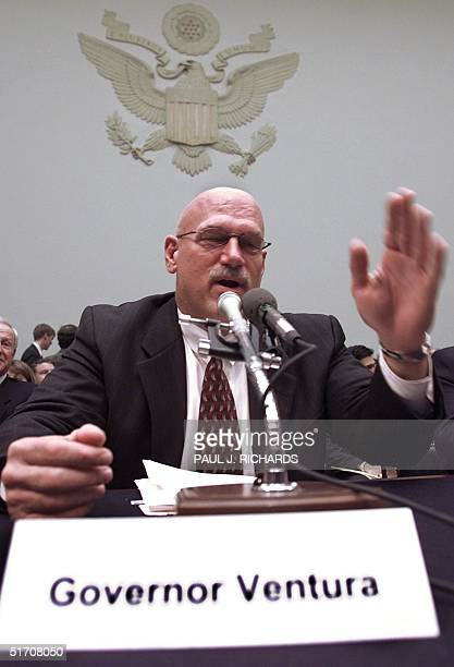 Minnesota Governor Jesse Ventura prepares to testify to the US House of Representatives Committee on Judiciary hearing on Fairness in antitrust in...