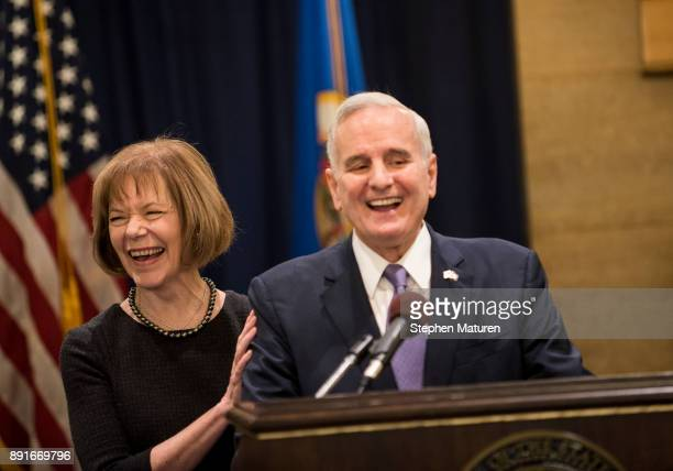 Minnesota Governor Mark Dayton fields questions after introducing Lt Governor Tina Smith as the replacement to Senator Al Franken on December 13 2017...