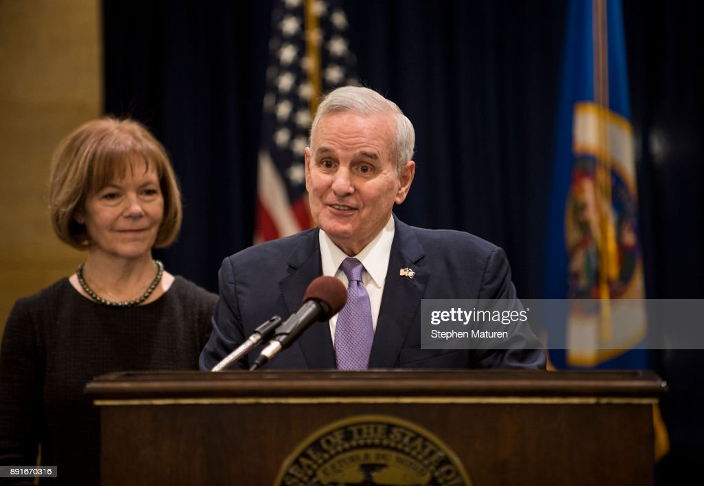 Minnesota Governor Mark Dayton fields questions after introducing Lt. Governor Tina Smith as the replacement to Senator Al Franken on December 13, 2017 at the Minnesota State Capitol in St. Paul, Minnesota. Franken resigned last week after multiple allegations of sexual harassment.