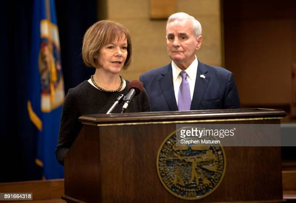 Minnesota Governor Mark Dayton introduces Lt Governor Tina Smith as the replacement to Senator Al Franken on December 13 2017 at the Minnesota State...
