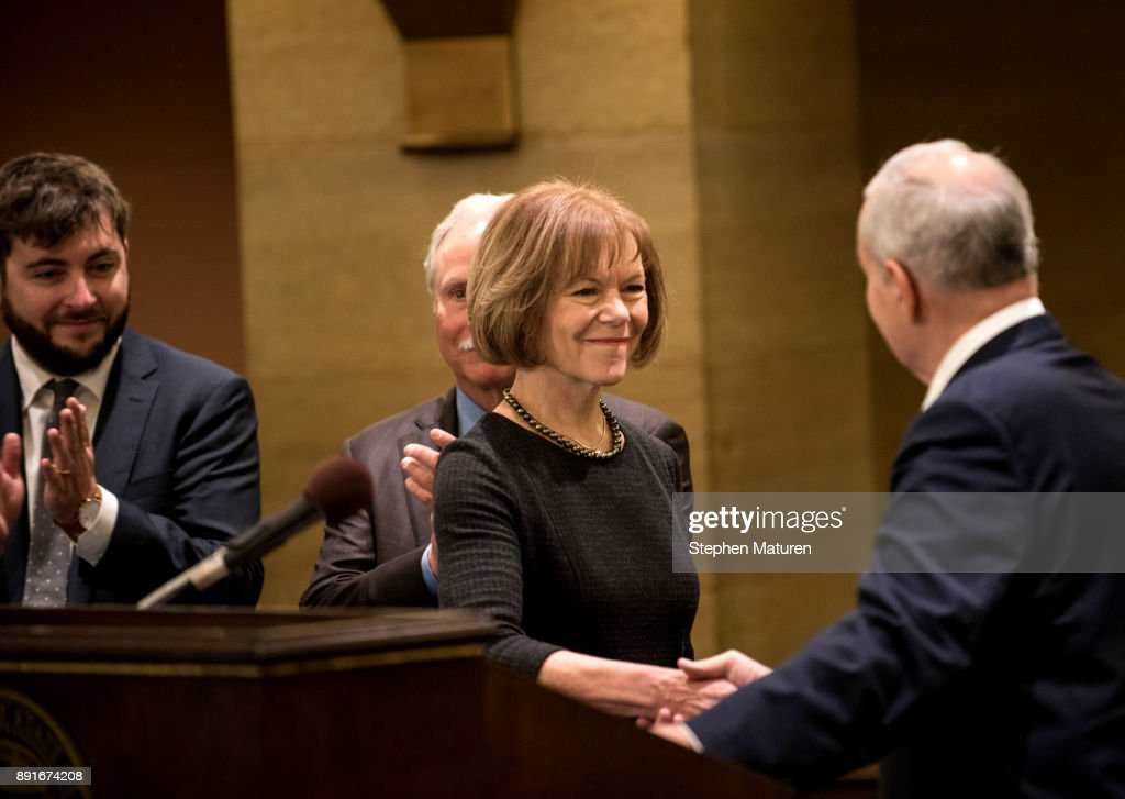 Minnesota Governor Mark Dayton introduces Lt. Governor Tina Smith as the replacement to Senator Al Franken on December 13, 2017 at the Minnesota State Capitol in St. Paul, Minnesota. Franken resigned last week after multiple allegations of sexual harassment.