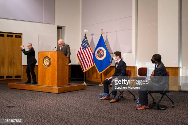 Minnesota Governor Tim Walz speaks during a press conference about public safety as the Derek Chauvin murder trial goes to jury deliberations on...